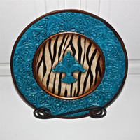 Decorative Plate /Zebra Print /Accented Cobalt Blue /Fleur de Lis /Shabby Chic /Home Decor /Upcycled /Painted Plates