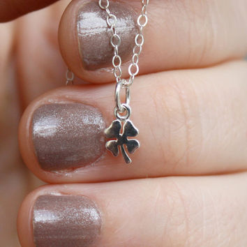 Four Leaf Clover Necklace - Teeny Tiny . Sterling Silver . Good Luck . St. Patrick's Day Gift
