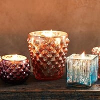 Hobnail Mercury Glass Candle