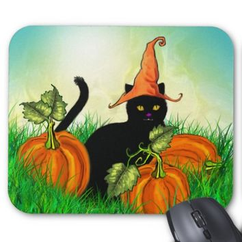 Halloween Cat with Pumpkins Mousepad