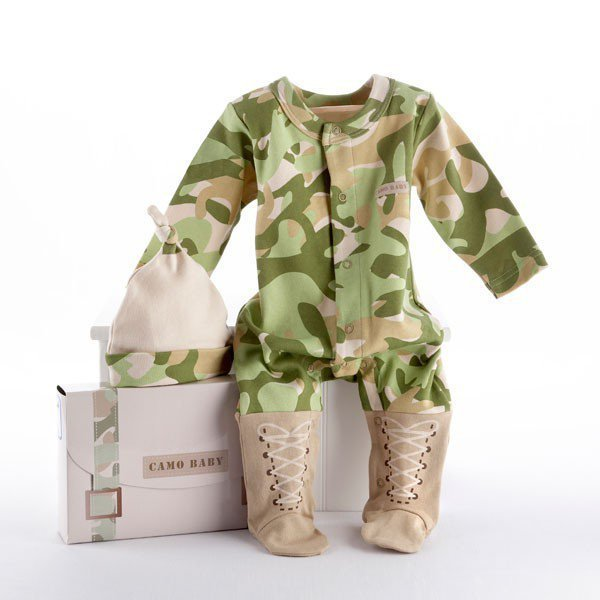 Camo Baby Two-Piece Layette Set in Backpack Gift Box  - Whimsical & Unique Gift Ideas for the Coolest Gift Givers