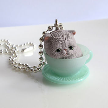 Grey tabby Neko Cat in Green Tea Cup Necklace. Kawaii Harajuku Style Animal Miniature, Chain Necklace
