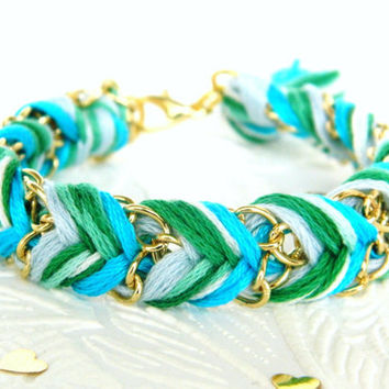 Frosted Mint - Bright Skies, Green Swirl, & Neon Turquoise - Chevron Braided Modern Friendship Bracelet - Gold Chain