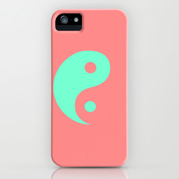 Yin Yang Coral Mint iPhone & iPod Case by Beautiful Homes