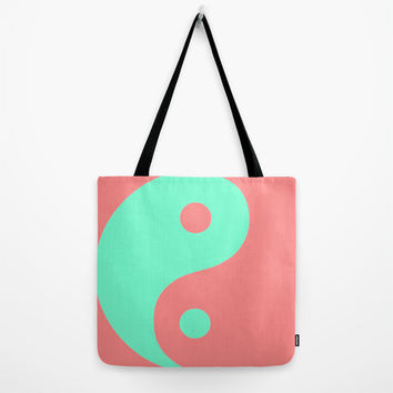 Yin Yang Coral Mint Tote Bag by Beautiful Homes