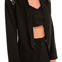 Zyanya Textured Jewel Shoulder Blazer in Black