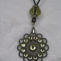 Olive Rhinestone Metal Pendant Necklace