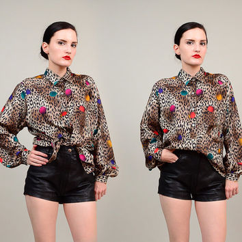 80s Leopard Polka Dot Blouse 1980s Animal Print Collared Button Up Shirt Small Medium S M