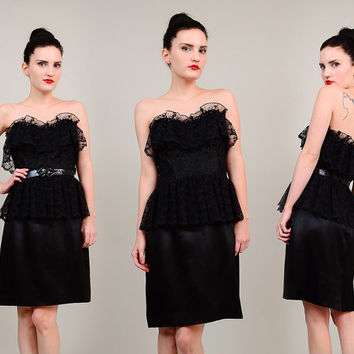 80s Black Strapless Sweetheart Neckline Ruffled Lace 1980s Peplum Waist Party Cocktail Dress Medium M