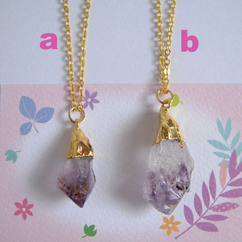 Rough Amethyst Necklace, Gold Chain Raw Gemstone Pendant, Brithday Jewelry