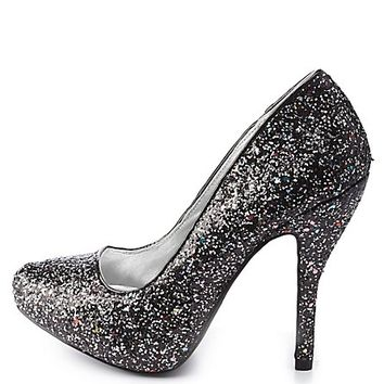 Qupid Mixed Glitter Pumps by Charlotte Russe - Black Multi