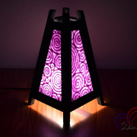 Lamp Light Decoration Bamboo Pyramid Table Lantern Purple Mulberry Paper Home Decoration