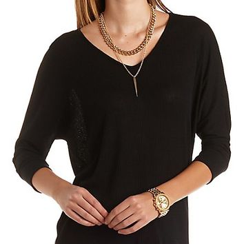 Ribbed High-Low Dolman Tee by Charlotte Russe