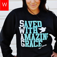 JCLU Forever Christian t-shirts — 081-BLACK/TEAL SWAG-SWEATER
