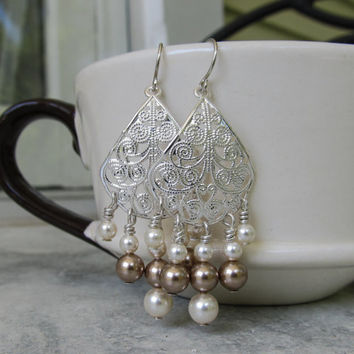 Silver chandelier bridesmaids earrings Bridal accessory Customize your colors Pearl earrings Formal wedding jewelry Different color pearls