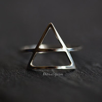 Size 7.5, Sterling Silver Triangle Ring, Handmade Jewelry, Thin Rings, Simple Rings, Geometric Ring, Minimalist Ring, Ready To Ship!