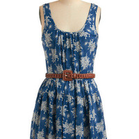 Once in a Blue Bloom Dress | Mod Retro Vintage Printed Dresses | ModCloth.com