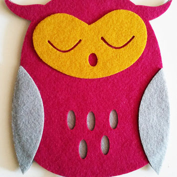 Owls Nursery Wall Decor - Set of 3 Fabric Owls - Kids Room Wall Art - Felt Animals - Wall Hanging Children Room