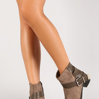 Two Tone Side Belt Almond Toe Ankle Bootie