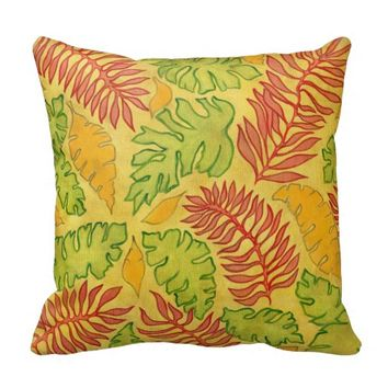 Pretty Vintage Tropical Floral Palm Leaf Pattern Throw Pillows