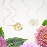 Monogram Script Circle Border Necklace