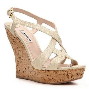 Miu Miu Cork Wedge Sandal