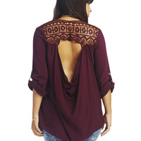 Crochet Open Back Blouse | Wet Seal+