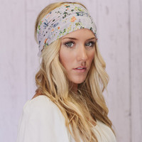 Lavender Floral Headband Wide Chiffon Hair Band