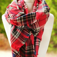 A FALL BREEZE PLAID SCARF IN RED - Default