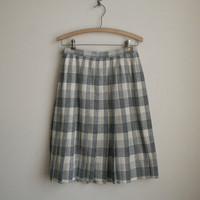 Pendleton Pleated Wool Skirt - Blue Grey Plaid