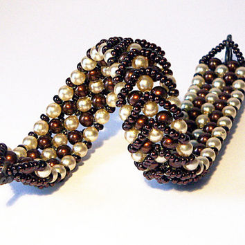 Brown and Cream Pearly Beaded Bracelet Glass Beaded Bracelet - Hot Chocolate