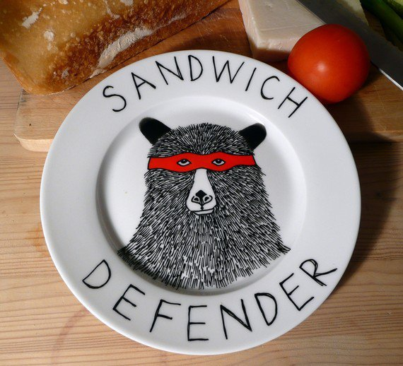 Side Plate - Hand Painted -The Sandwich Defender Bear