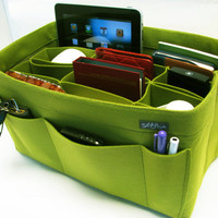 W2. Yellow-green felt bag organizer  - X X large size for travel ((W 14in H 8in D 7.5in ), also for a school / baby bag, desk, car &amp; etc.