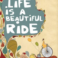 "Inspirational Art Print ""Life is a Beautiful Ride"" Motivational Saying, Vintage Bicycle Artwork"