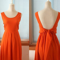 Vintage Maxi Long Chiffon Dress Open Back Backless Bow Tie Sash Dress Orange Color for Wedding Bridesmaid Dress Beach Dress Summer Dress