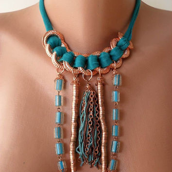 Turquoise Necklace with Glass Beads - Copper Color Items and Fabric - Speacial Design