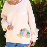 reconstructed turtle patched sweatshirt