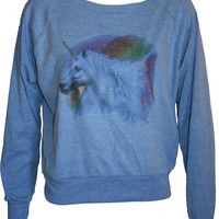 "Glitter Rainbow UNICORN Pullover Slouchy ""Sweatshirt""  Top American Apparel Blue M"