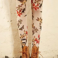 Print Elastic Waist Skinny Leggings - Oasap High Street Fashion