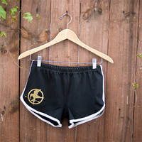 Mockingjay Pin Shorts from the Hunger Games - 70s Style American Apparel Shorts - Choose Size - Made to Order
