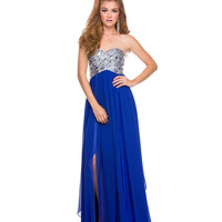 Royal Sequined Strapless Dress Prom 2015