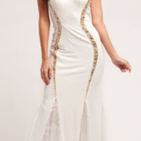 Cream & Gold Beaded Halter Gown
