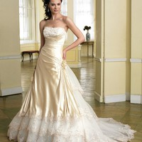 A-line Strapless Lace Sleeveless Court Trains Charmeuse Wedding Dresses For Brideses@YSP0142 - $169.09 : DressLoves.com.