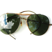 1940's Military Issued Aviator Glasses, Midcentury Movie Prop, Sunglasses, Vintage Sunglasses, Military Collectable, Antique Glasses,