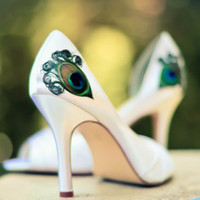 Ivory Satin Peep Toe Pleated Peacock Pump ... ANY SIZE