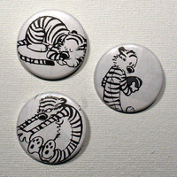 3 Badge set, Calvin & Hobbes, recycled comic strips