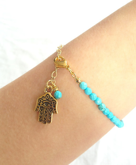 Summer Sale - Turquoise Bracelet with Hamsa Hand, Spring Jewelry