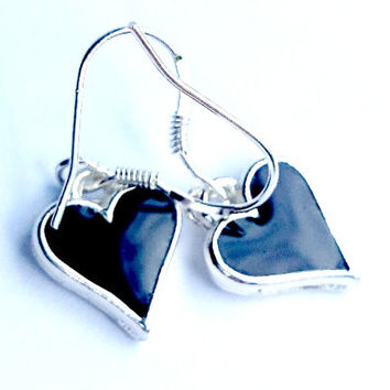 Jet Black Resin Heart Earrings Black Resin Earrings Dangly Heart Earrings Resin Earrings