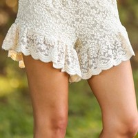 Ruffle Me Up Shorts-Cream