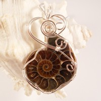 Wire Wrapped Pendant, Ammonite, Fossil Necklace, Handmade Jewelry, elainesgems
